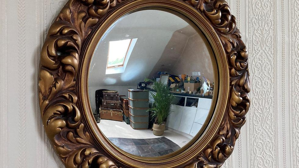 Antique Circular Convex Decorative Gilt Wall Mirror