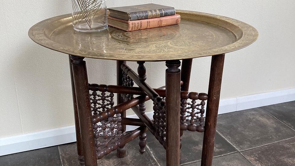 Antique Moroccan Folding Brass Tray Top Table / Boho Table