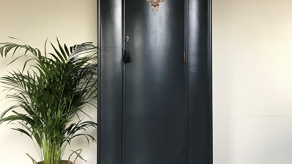 Vintage 1960's Mid Century Gentleman's Armoire in Farrow and Ball Off Black
