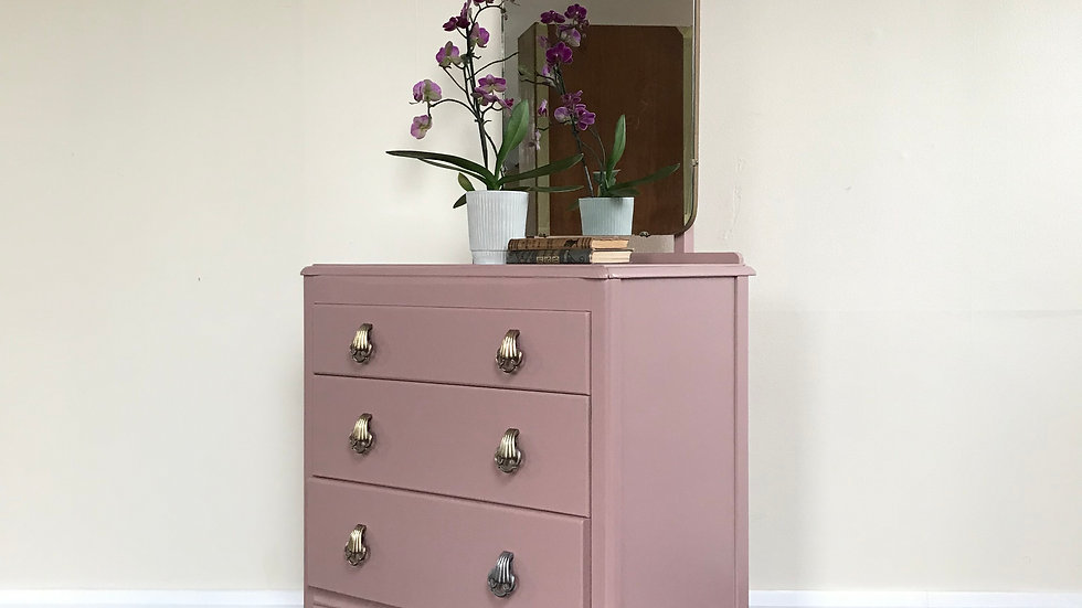 Mid Century Upcycled Lebus Chest of Drawers/ Dressing Table  with Mirror