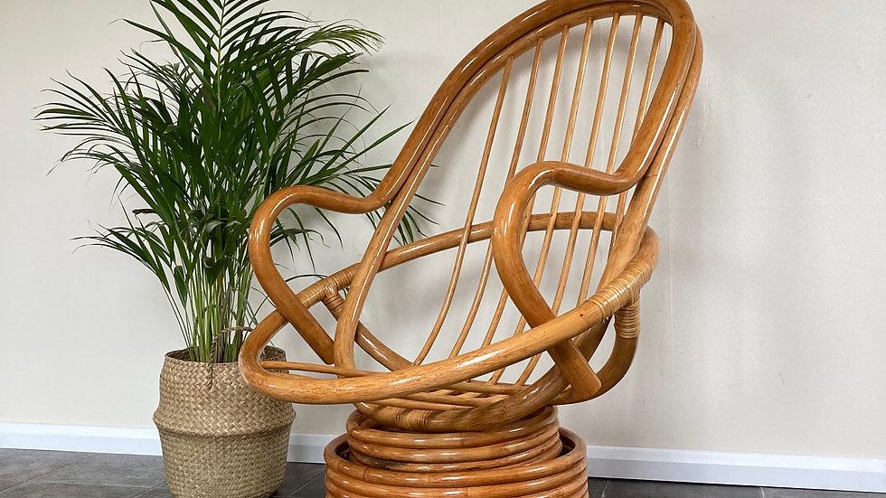 Mid Century Vintage Boho Bamboo Swivel Egg Chair / Bamboo Rocking Chair