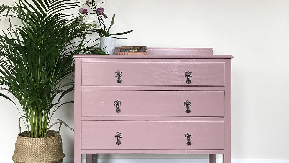 Antique Chest of Drawers on Castor Wheels in Farrow & Ball Sulking Room Pink
