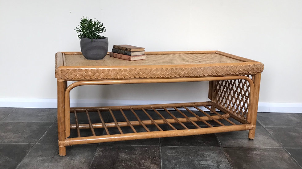 Vintage Bohemian Bamboo Coffee Table / Rattan Coffee Tabe