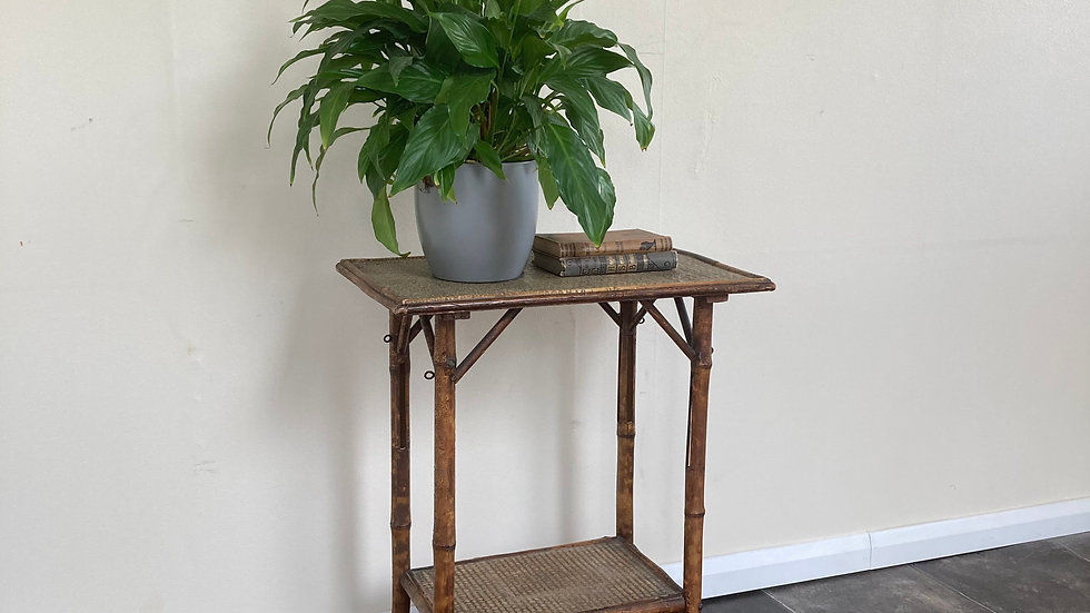 Victorian Antique Bamboo Side Table / Rattan Side Table / Cane Plant Stand