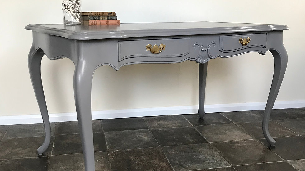 Vintage Antique Baroque Louis Style Painted Grey Large Writing Desk