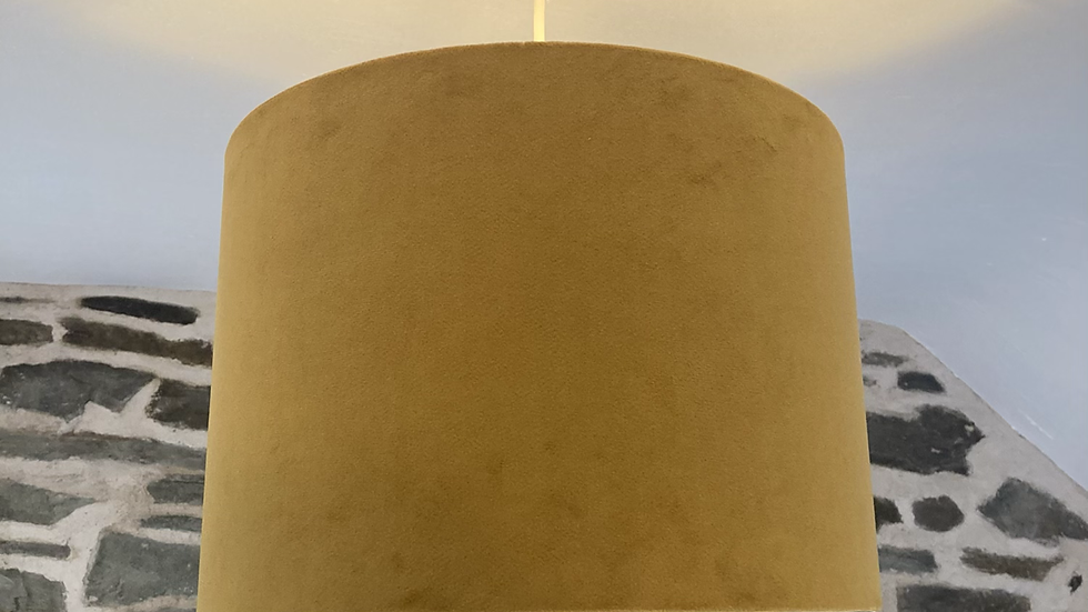 Mustard / Gold Vintage Style Drum Lampshade with Gold Interior