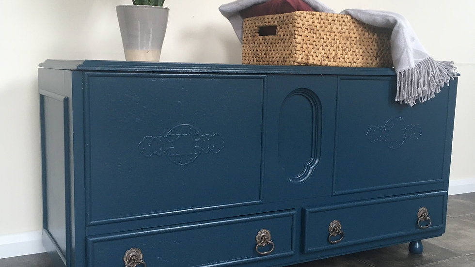 Painted Upcycled Blue Antique Blanket Box / Trunk / Chest