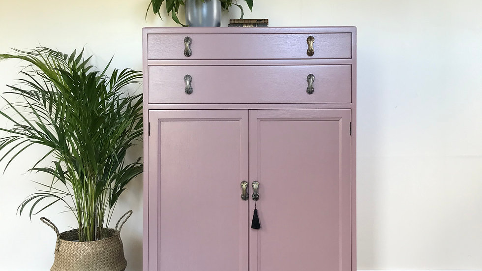 Vintage Painted Linen Cupboard / Tall Boy in Farrow and Ball Sulking Room Pink