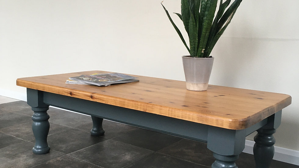 Vintage Painted Upcycled Solid Pine Coffee Table in Farrow and Ball Downpipe