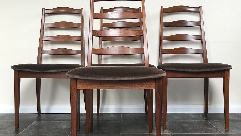 Mid Century G Plan set of 4 Teak Dining Chairs with Original Upholstery in Cacao
