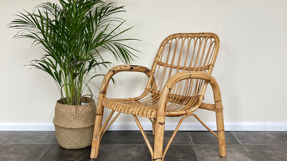 Mid Century Vintage Boho Bamboo Armchair / Cane Chair / Wicker Chair