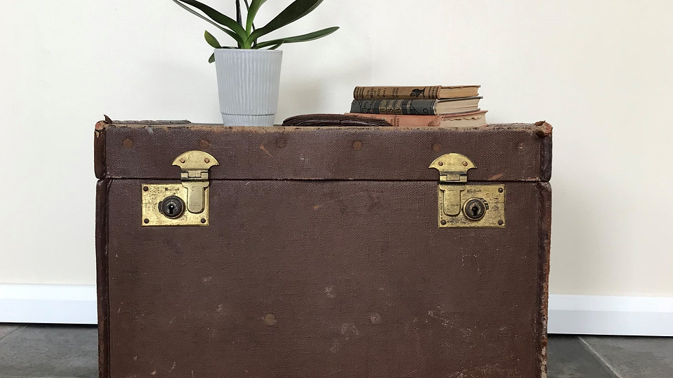 Antique Vintage British Trunk Side Table / Suitcase