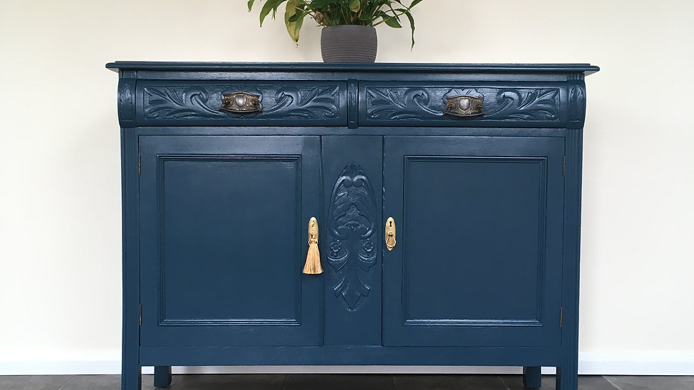 Handsome Antique Victorian Painted Carved Sideboard in Farrow Ball Hague Blue