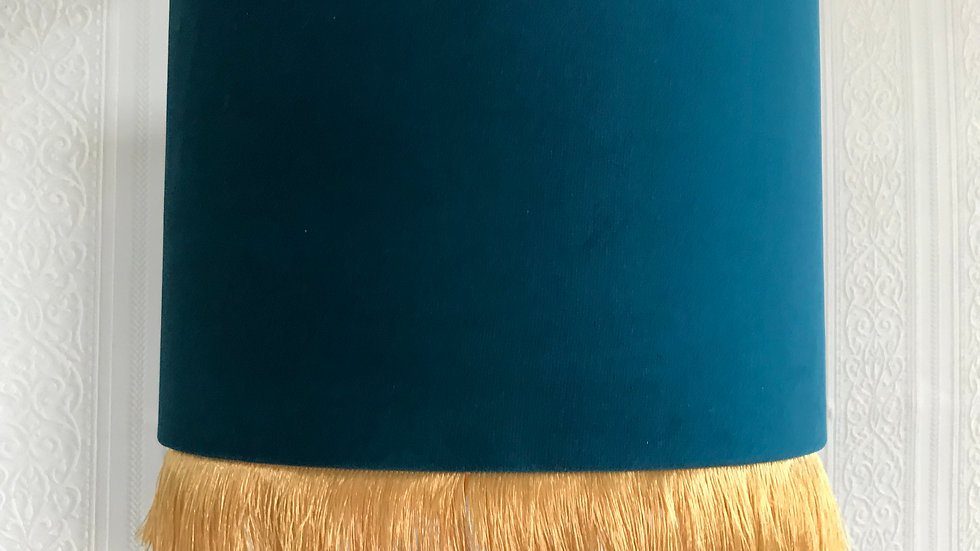 Teal Velvet Vintage Style Drum Lampshade with Gold Interior and Gold Tassel