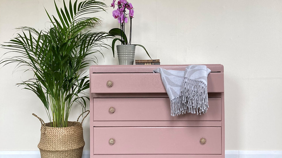 Antique Painted Upcycled Chest of Drawers in Farrow and Ball Sulking Room Pink