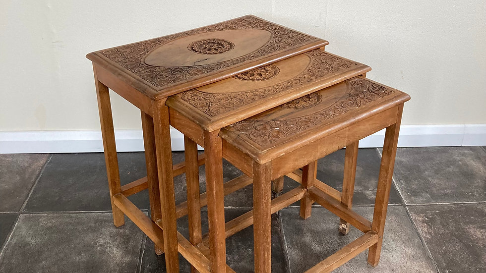 Antique Asian Carved Nesting Tables / Nest of Tables