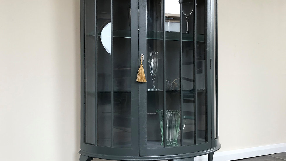 Painted Grey Vintage Demi Lune Glass Gin Cabinet in Farrow and Ball Downpipe