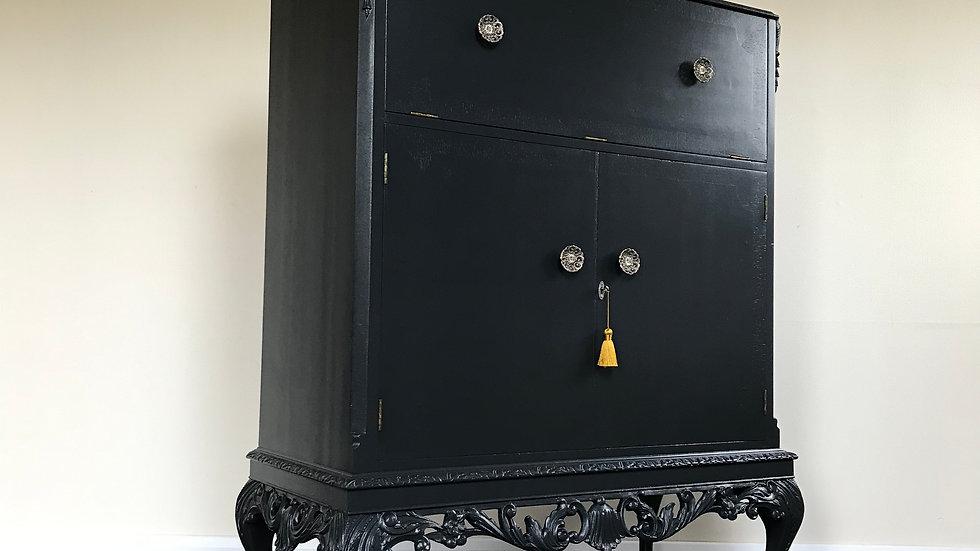 Vintage Painted Black Cocktail Cabinet / Drinks Cabinet in F&B Off Black