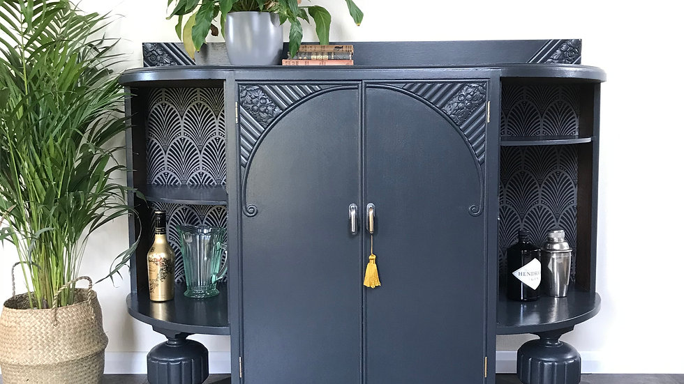 Antique Art Deco Off Black Painted Bow Fronted Drinks Cabinet / Sideboard