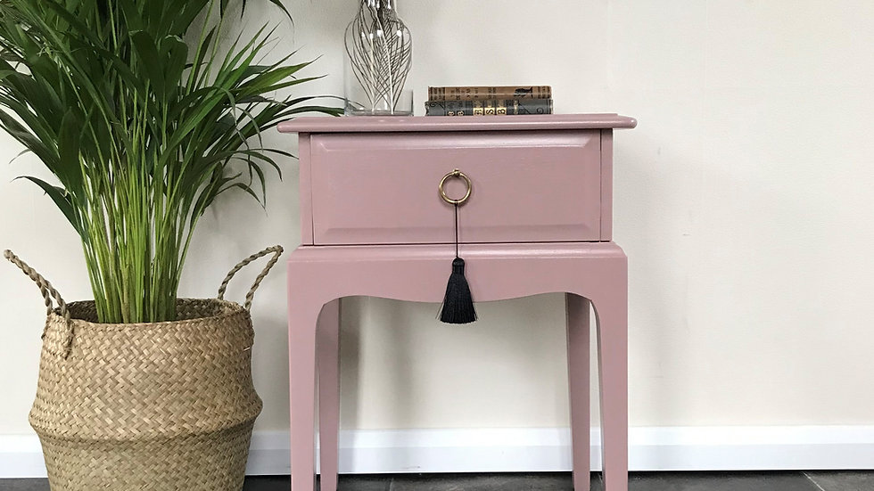 Mid Century Painted Stag Bedside Table in Farrow and Ball Sulking Room Pink