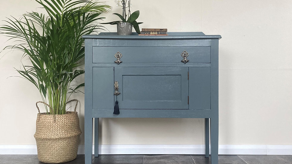 Antique Painted Cupboard / Cabinet in Farrow and Ball Downpipe