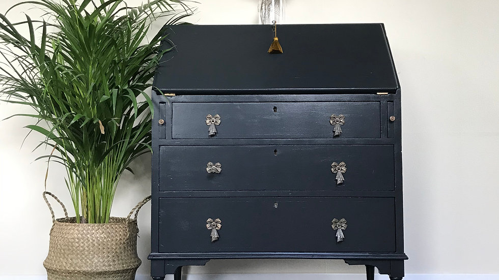 Antique Painted Bureau / Writing Desk / Secretaire in Farrow and Ball Off Black