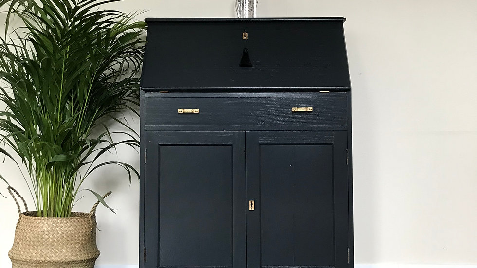 Antique Painted Writing Bureau / Writing Desk in Farrow and Ball Off Black