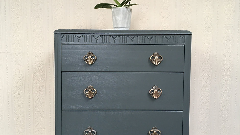 Vintage Mid Century Lebus Painted Blue/Grey Chest of Drawers