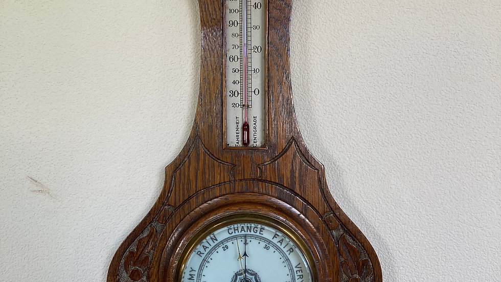 Antique Carved Edwardian Oak Aneroid Barometer with Thermometer
