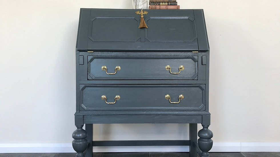 Antique Solid Oak Painted Writing Bureau /Writing Desk in Farrow & Ball Downpipe