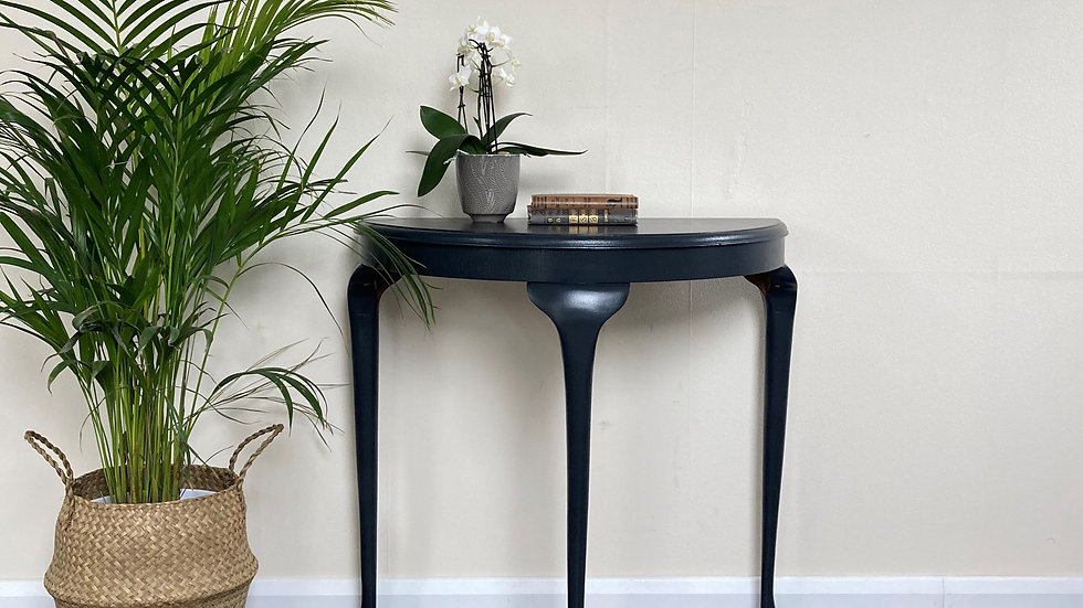 Vintage Regency Style Demi Lune Console Table in Farrow and Ball Off Black
