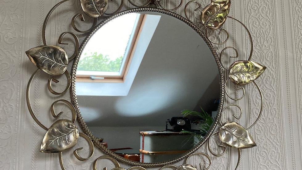 Retro 1950's Circular Wrought Wall Mirror
