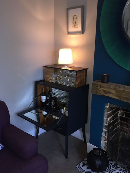 Retro Mid Century Cocktail Cabinet in Farrow and Ball Off Black