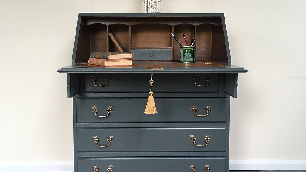 Handsome Vintage Grey Painted Writing Bureau / Writing Desk