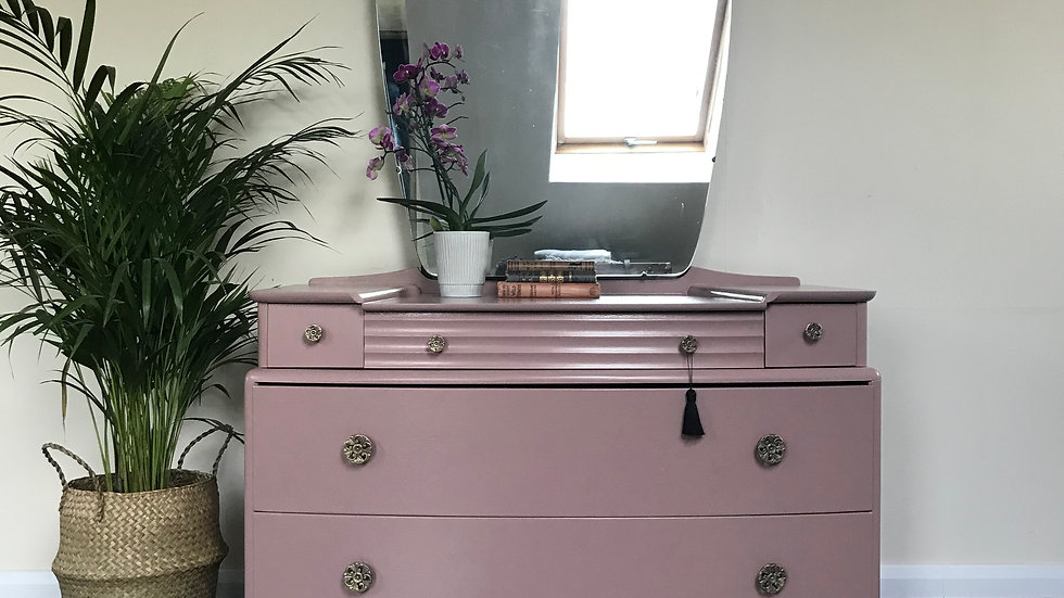 Mid Century Stag 'A' Range Dressing Table in Farrow and Ball Sulking Room Pink
