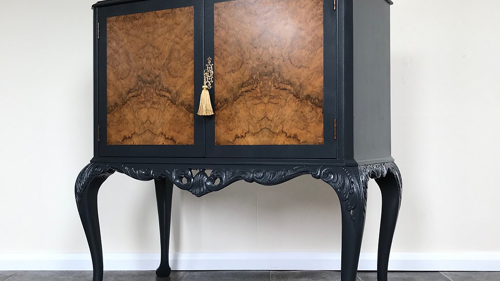 Vintage Painted Black Burr Walnut Cocktail Cabinet on Carved Queen Anne Legs