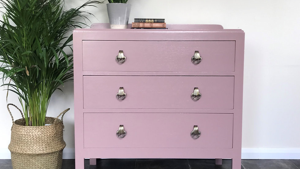 Mid Century Upcycled Chest of Drawers in Farrow and Ball Sulking Room Pink