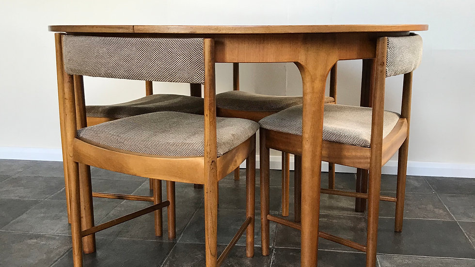 Mid Century Extending Spacesaver Teak Dining Table and Four Chairs by McIntosh