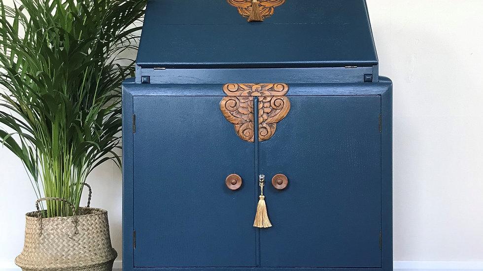 Antique Art Deco 1930's Painted Carved Bureau / Writing Desk in F&B Hague Blue