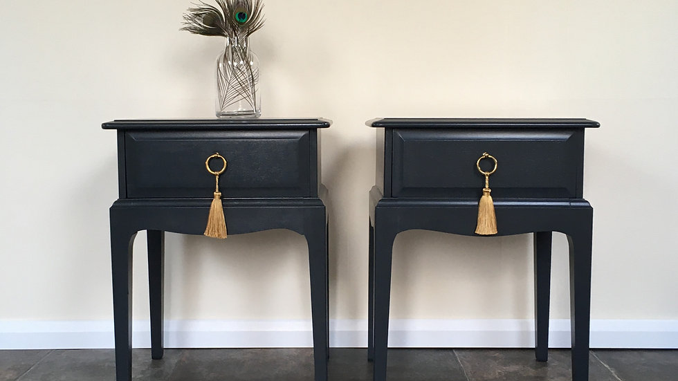 Pair Handsome Painted Farrow and Ball Off Black Vintage Stag Minstrel Bedsides