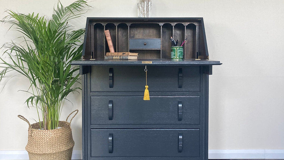 Antique Painted Writing Bureau / Writing Desk in Farrow and Ball Off Bla