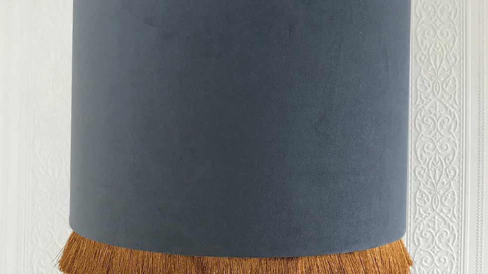 Grey Velvet Vintage Style Drum Lampshade with Gold Interior and Gold Tassel