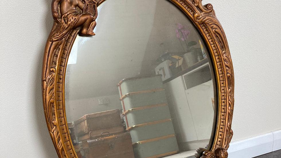 Vintage 1950's Gilt Framed Ornate Wall Mirror with Cherubs