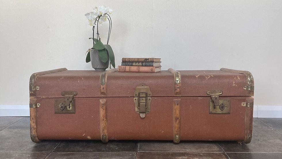 Antique Steamer Trunk Side Table / Travel Trunk / Travel Shop Display