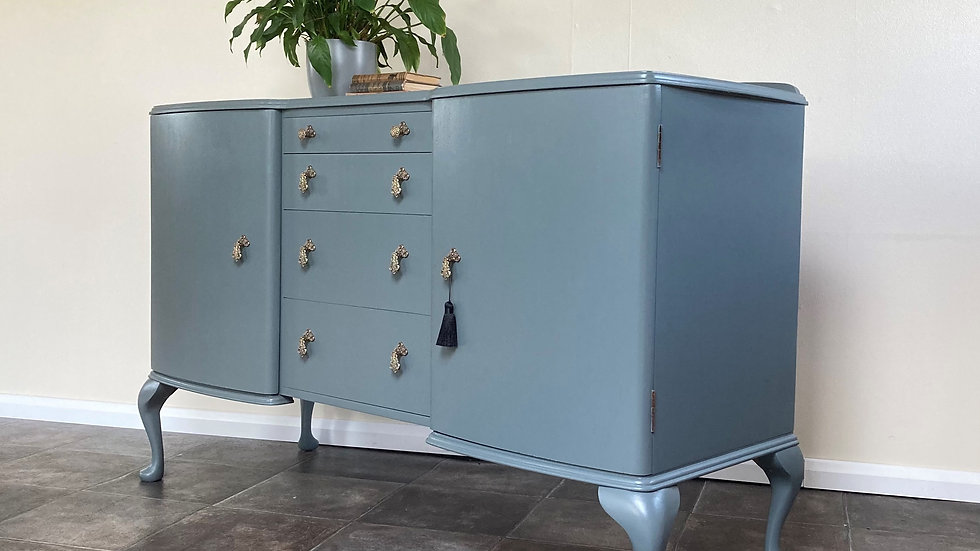 Vintage Regency Style Painted Sideboard by McIntosh in Farrow and Ball Downpipe