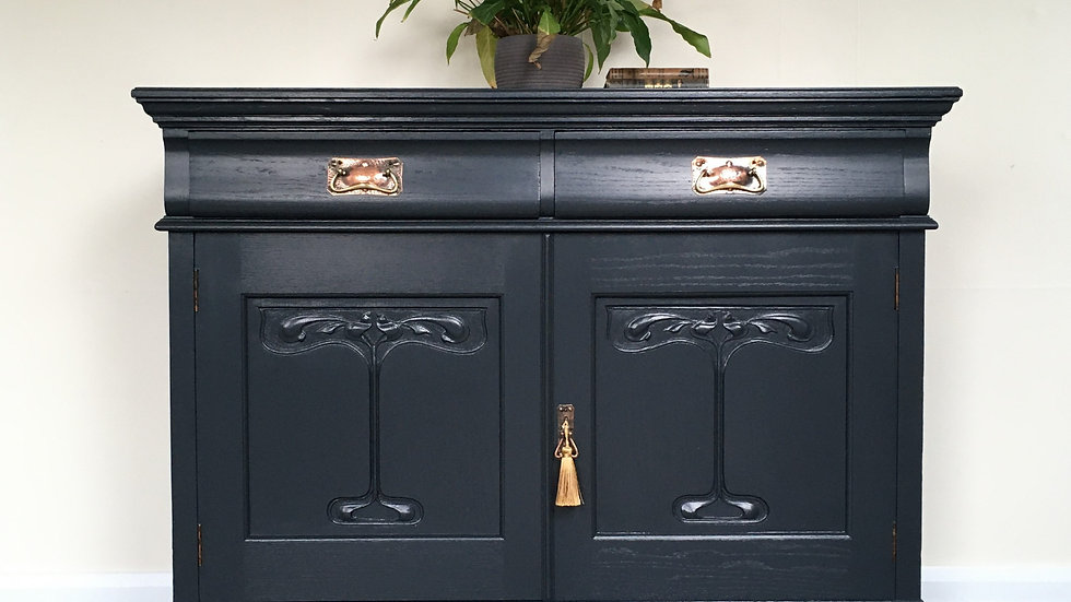 Art Nouveau Painted Carved Sideboard / Chiffonier in Farrow and Ball Off Black