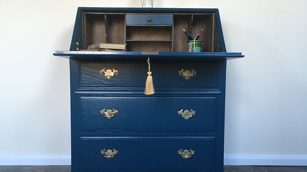 Striking Vintage Blue Painted Writing Bureau / Writing Desk