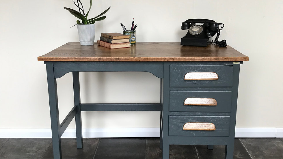Vintage Industrial Painted Pedestal Desk / Teacher's Desk