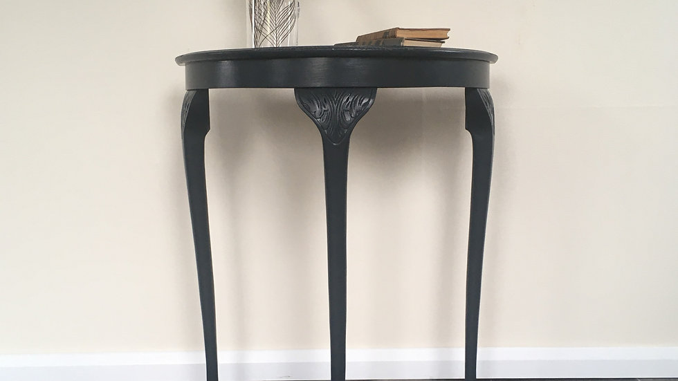 Vintage Regency Style Painted Demi Lune Console Table in Farrow Ball Off Black