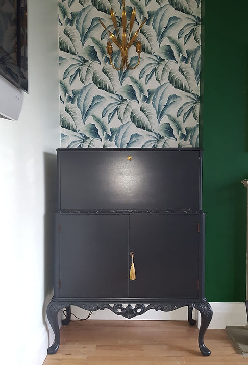 Vintage Cocktail Cabinet in Farrow and Ball Off Black